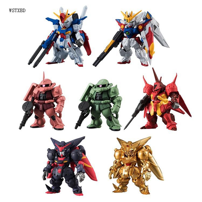 WSTXBD Original BANDAI 7 Pcs/Set Q Version FW Gundam Converge#09 PVC Figure Toys Figurals Model Kids Dolls Brinquedos bandai bandai gundam model sd q version bb 309 sangokuden wu yong bian xiahou yuan battle