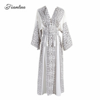 Foamlina Elegant Women S Summer Dress Boho Style Geometric Print Sexy V Neck Batwing Sleeve Empire
