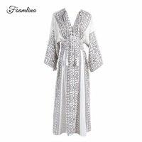 Foamlina Elegant Women S Summer Dress Boho Style Geometric Print Sexy V Neck Batwing Sleeve Empire