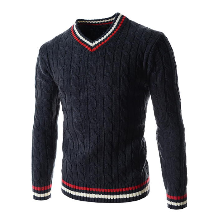 New Arrival Autumn Winter Wear V - Neck Men's Slimming Trend Sweater  Men Clothes 2018 Pullover Homme