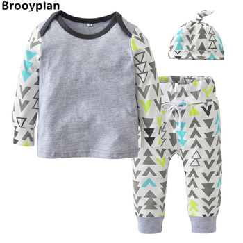 2018 Autumn Baby Boy Clothing Sets Long Sleeve Geometric Printing Patchwork Infant 3pcs Suit Newborn Toddler Baby Boys Clothes