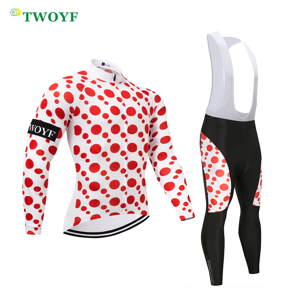 2018 Spring Autumn Men suit Bicycle wear Clothing Red Polka Dot Cycling Long Jersey and bib/pants Road Bike ride sets