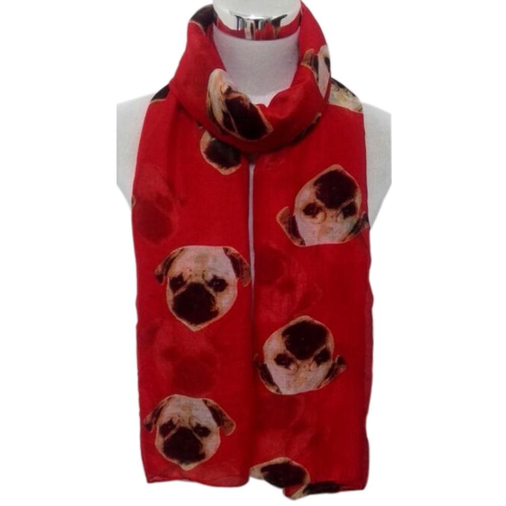 Fashion creative women   scarf   Lady Womens Long Cute Pug Dog Print   Scarf     Wraps   Shawl Soft   Scarves   dropshipping 2018