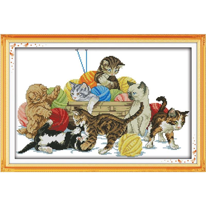 A macskák szépen díszítik a festményeket14CT 11CT számolt - Művészet, kézművesség és varrás