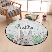 Cartoon Round Carpet,Simple Bunny Pattern Design Floor Swivel Chair Computer Upholstery Home Room Decor, Child Crawling carpet
