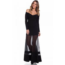 2016 Women Sexy Dress Off Shoulder Black M L Party Mesh Women Summer Dress Deep V Neck Long Dress Sexy See Though Mesh Dress 080