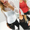New Fashion Tshirt Women Stretch Floral Lace Patchwork O-Neck 3/4 Sleeve Shirt Wwomen's T Shirts Roupas Femininas