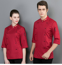 Summer Kitchen Chef Jacket Uniforms Half Sleeve Chef Food Service Double-breasted Restaurant Bakery Cooking Workwear