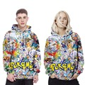 2017 Spring Fashion Men Women Pokemon 3D Sweatshirt Cartoon Character Print Hoodies Unisex Casual Streetwear Lover's Clothing
