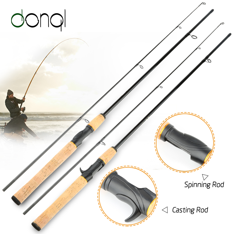 Carbon Casting Spinning Lure Fishing Rod 2 Sec M Power 6-15LB Line Weight Light
