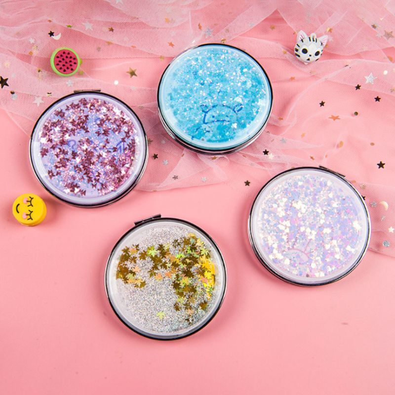 Creative Women Glitter Sequins Quicksand Portable Round Folding Pocket Makeup Mirror Double Sided Student Fantastic Mini Mirror in Makeup Mirrors from Beauty Health