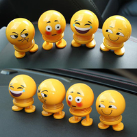 1/6/8pcs Car Ornaments Funny Spring Toy Interior Accessories Emoji Shaker Auto Decors Shaking Head Doll 29