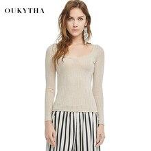 Oukytha 2018 Autumn Fashion T Shirt Woman Sexy Long Sleeve Women Tops All Cotton U- Collar Striped Basic T shirt M15395