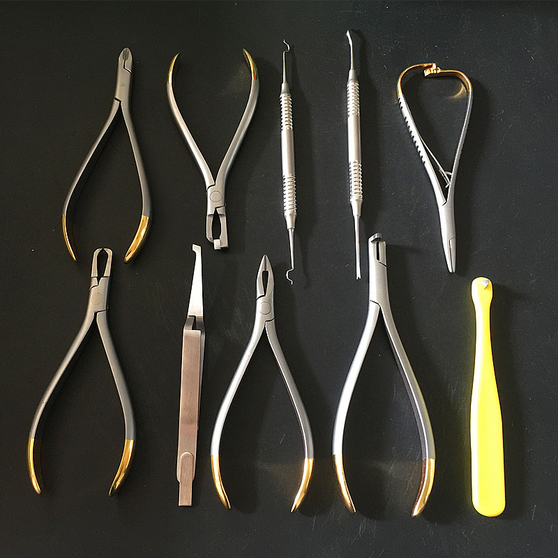 FREE SHIPPING 10pcs good quality Dental Orthodontics Instruments Set Ring Retractable Bracket Locator Subalong Pliers