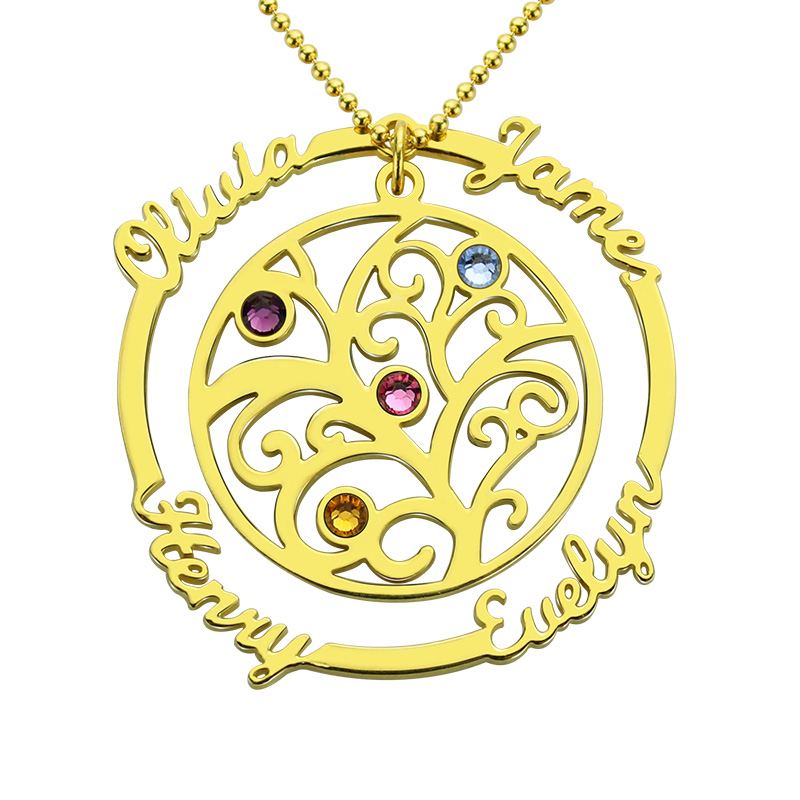 Wholesale Family Tree Necklace with Birthstone Gold Color Hand Stamped Mother Necklace Birthstone Necklace Gift for Mother цена и фото