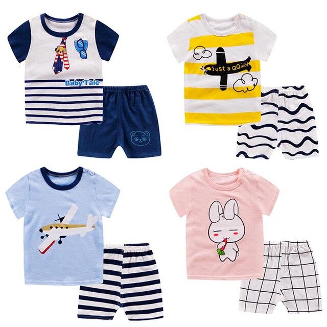 Toddler boy girls clothes Summer T-shirt+Pants costume kids summer clothes Outfit Cotton Children Infant Tracksuit set newborn