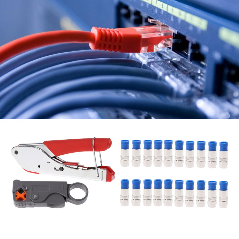Coaxial Cable Wire Stripper RG6/RG59 Compression F Connector Crimping Pliers Kit