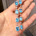 GVBORI  Princess  Design square 925 Sterling Sliver 100% Natural Gemstone Ocean blue Topaz bracelet