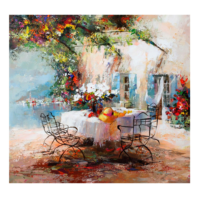 Golden panno Needlework Embroidery DIY Landscape Painting Cross stitch kits 14ct House of Love Cross stitch