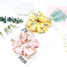 Xugar Hair Accessories Floral Elastic Scrunchie Summer Ponytail Rope Tie for Women Girls Soft Cloth Ring Long