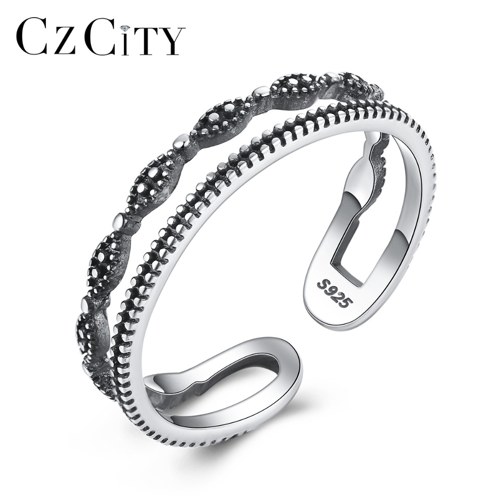 CZCITY Brand Real 925 Sterling Silver Embossed Pattern Hollow Design Female Vintage Adjustable Rings Carving S925 Fine Jewelry