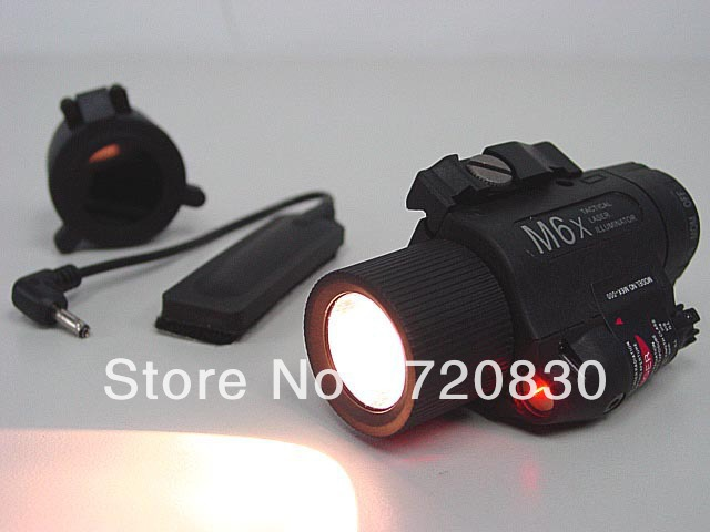 M6X Xenon Flashlight & Red Laser w/ IR Infrared Filter Black