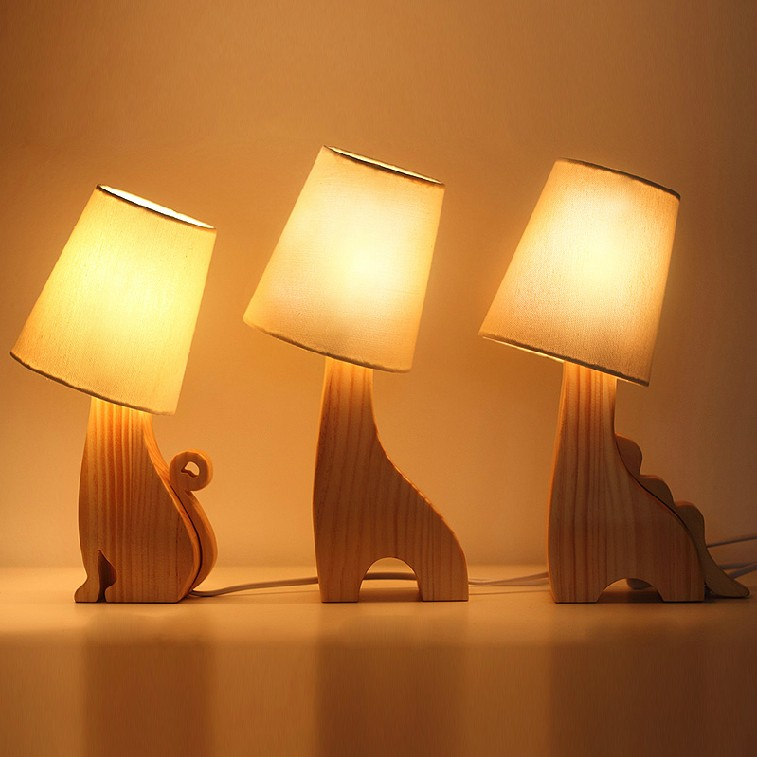 Maison Moderne Dessin Animé Animal Bois Laine De Lampe De