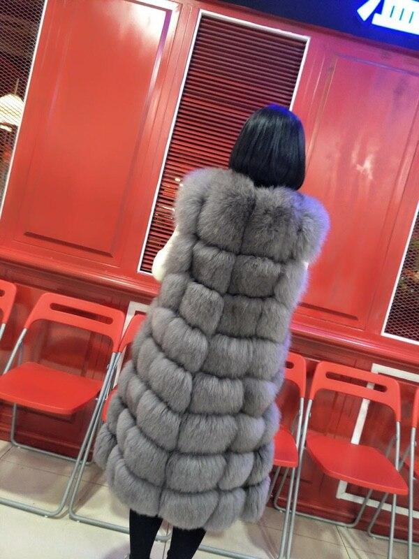 White noir Grey deep 90 Army Green Pour Femme Coloured cream Fourrure White Cm Grey cameo natural Long Véritable Gilet Les light Manteau snow Réel Renard De Veste Femmes Naturel FxqBTFrwS