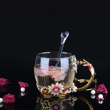 Luxury Enamel cup Creative Transparent Crystal Glass Carve patterns water Cup For Coffee tea Home Drinking Ware wedding gift