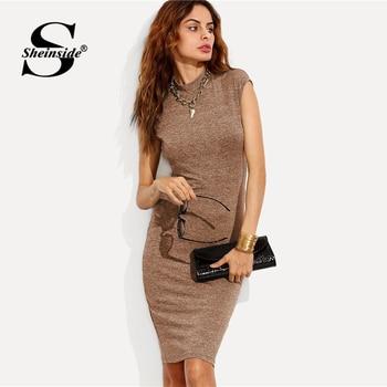 cc0d1d5ba Sheinside Jersey ropa elegante vestido lápiz OL trabajo Collar manga de la  rodilla-longitud Slim mujeres vestidos Bodycon