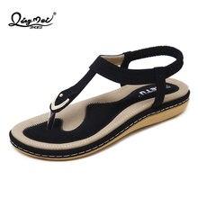b1568b057830 QINGMEI Summer Women s Bohemian Elastic Band Sandals Flip Flop T-Strap  Flats Thong Shoes Soft TPR Sole Sandalias Planas Mujer