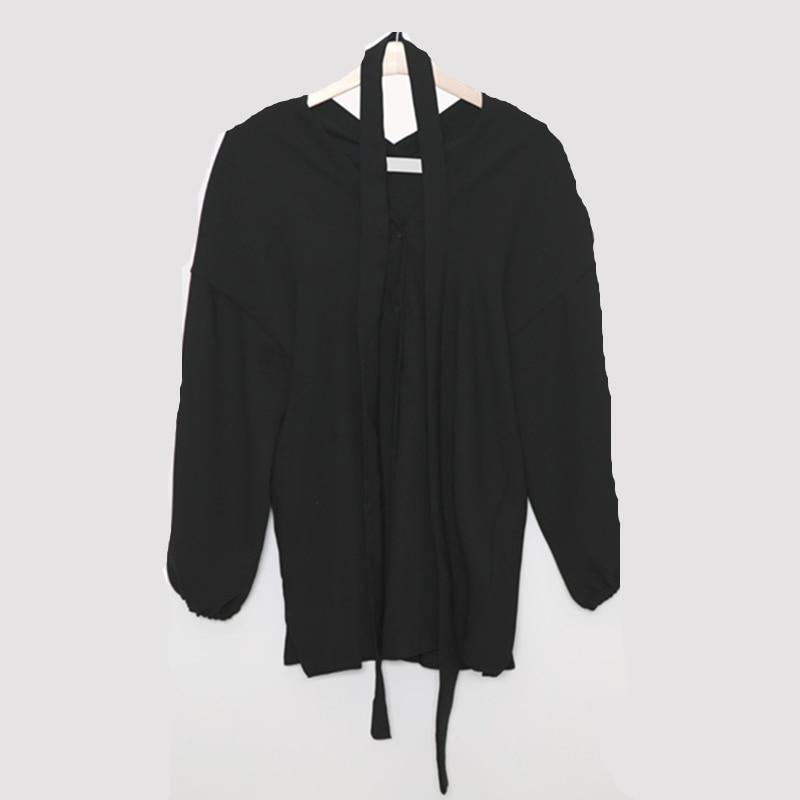 Women's Clothing 2019 Fashion New Korea Retro Women V-neck Black Show Thin Loose Single-breasted Bubble Long Puff Sleeve Chiffon Shirt Ljx08