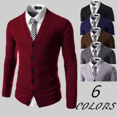 Cotton Sweater Men Long Sleeve Cardigan Mens V-Neck Sweaters Loose Solid Button Single Breasted Fit Knitting Casual Clothing