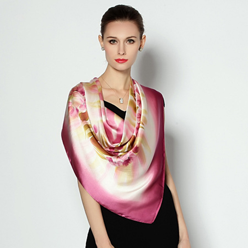 Fashion Large Size Square Silk Scarf Women Elegant Air Conditioner Shawl Hand Painted 100 Mulberry Silk Scarves Shawls FW222 in Women 39 s Scarves from Apparel Accessories