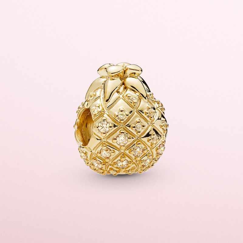 100% Стерлинговое Серебро ананас золотые талисманы fit Pandora Браслеты и браслеты классические Фрукты DIY бусины для женщин Девушка подарок изготовление