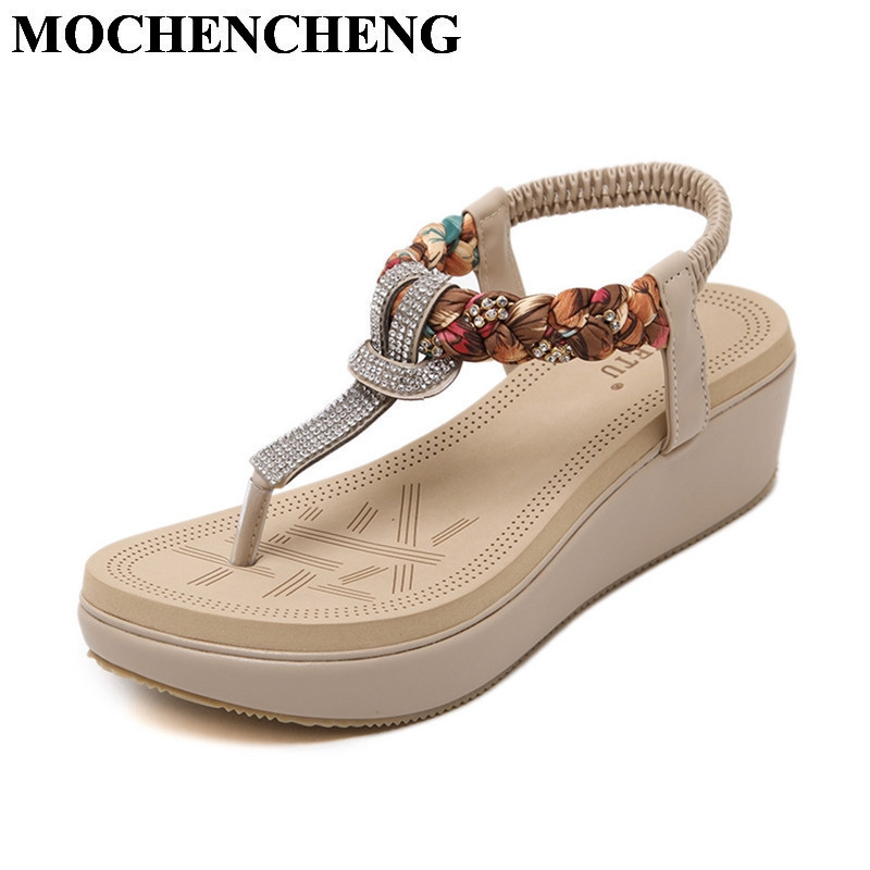 Summer Shoes Women Sandals Bohemia Ethnic Style Platform Flat Wedges Heel Flip Flops with Crystal Large Size Female Casual Shoes new women sandals low heel wedges summer casual single shoes woman sandal fashion soft sandals free shipping