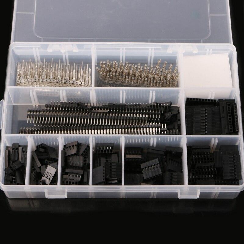 1450Pcs Set 2 54mm Dupont Connector Kit PCB Headers Male Female Pins Electronics