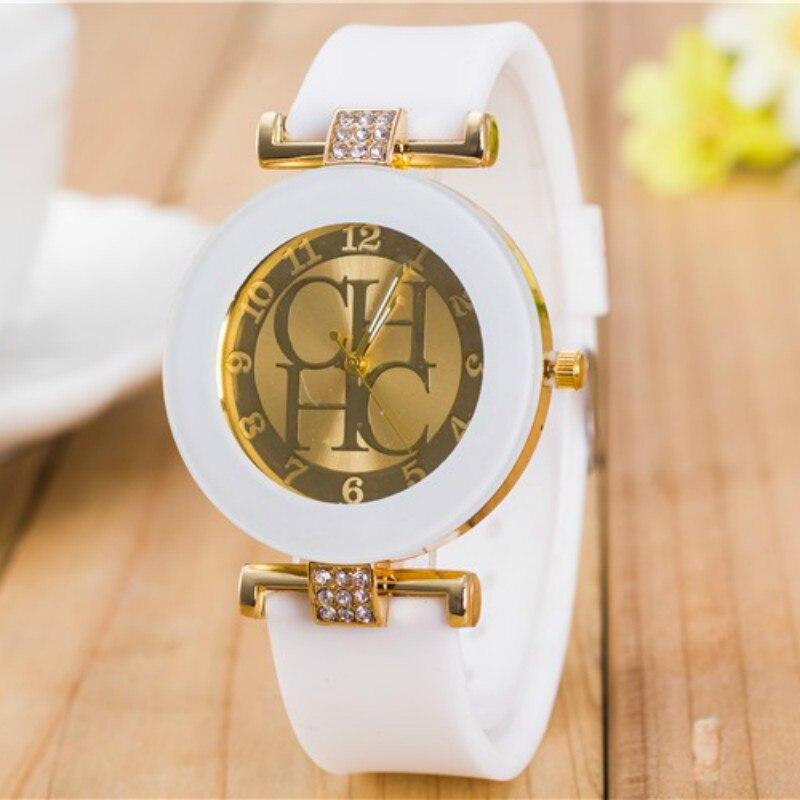 Zegarki Meskie Hot Fashion Brand Gold Geneva Sport Quartz Watch Women Dress Casual Crystal Silicone Watches Relogios Femininos