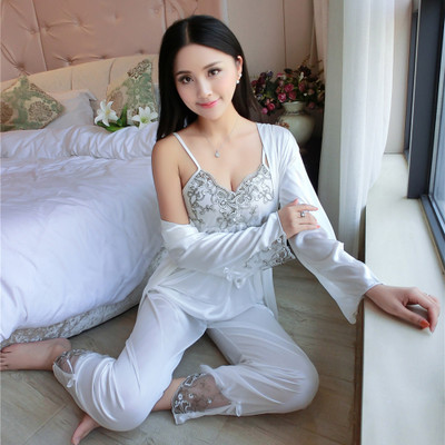 Detail Feedback Questions about Summer ice silk pajamas female three piece  suit sexy sling silk night summer lace silk silk home service pyjamas women  on ... 8fd540997