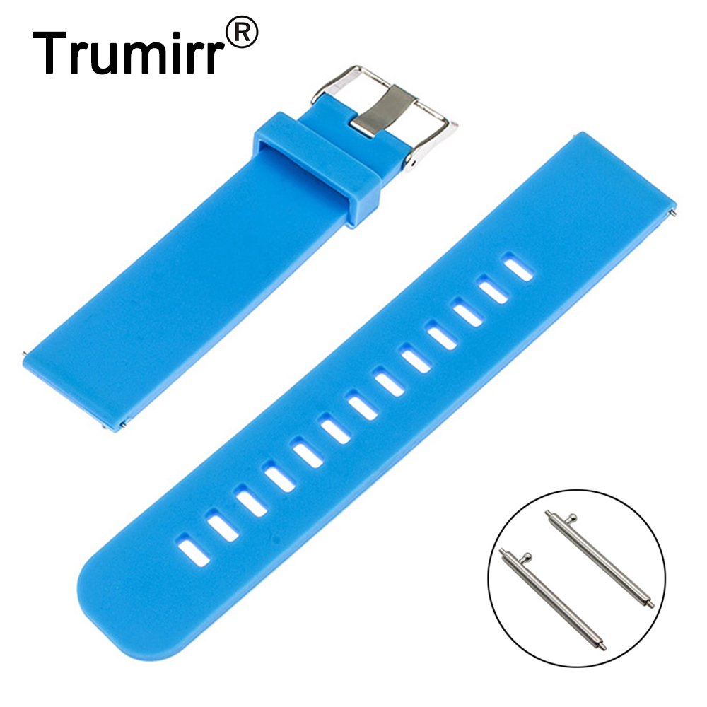 Quick Release Watchband for Pebble Time Round 20mm Bradley Timepiece Silicone Rubber Band Smart Watch Strap Bracelet Black Blue купить