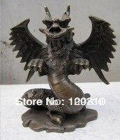 00906 classique bronze sculptures ailes chinois dragon statue