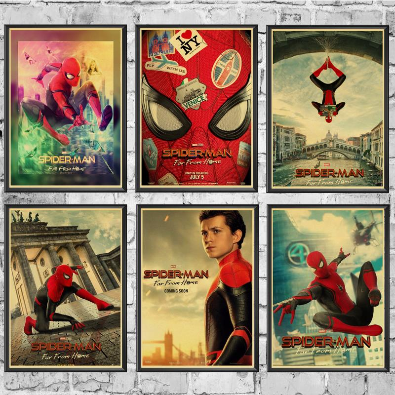Superhero Movie Spider-Man Far From Home Poster Marvel Movie  Wall Stickers Vintage Poster Prints For Bar And Home Decor