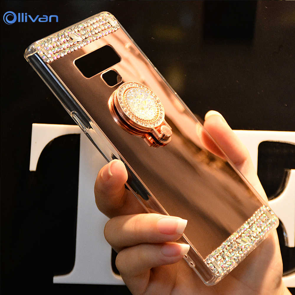 Diamond Phone Case For Samsung A3 A5 A7 J3 J5 J7 2016 2017 Mirror Case For Samsung Galaxy S8 Plus S7 S6 Edge Ring Holder Coque