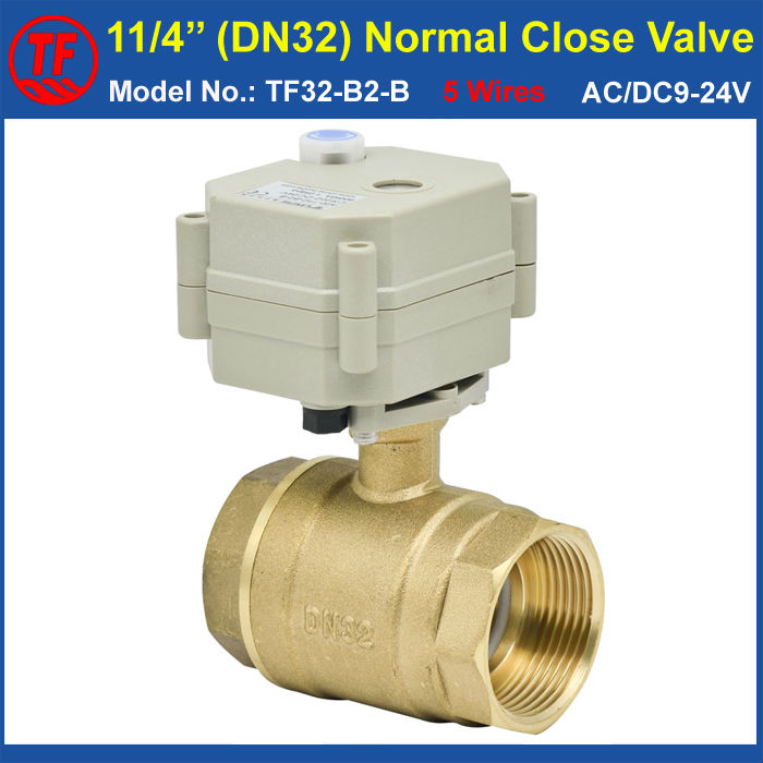 BSP/NPT 11/4'' DN32 Electric Normal Closed Valve With Manual Override AC/DC9-24V 5 Wires With Signal Feedback Metal Gear CE IP67 ac110 230v 5 wires 2 way stainless steel dn32 normal close electric ball valve with signal feedback bsp npt 11 4 10nm