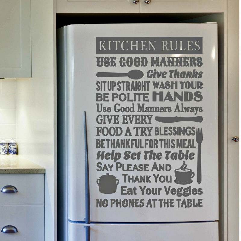 Kitchen Rules Wall Decal Art Decor , Kitchen Vinyl Decal Sticker For Wall Or Refrigerator Decoration