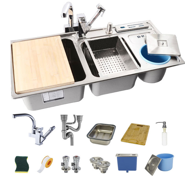 Medium image of 91 43 22 triple bowl kitchen sinks stainless steel kitchen sink with 18 accessroies