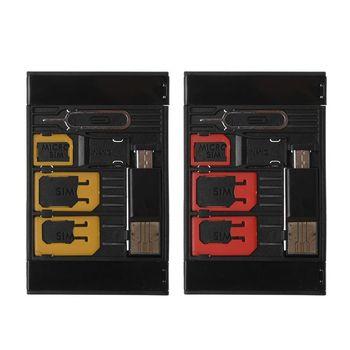 01f2e211e73 5 En 1 Universal Mini tarjeta SIM Adaptador caja de almacenamiento Kits para  Nano Micro tarjeta