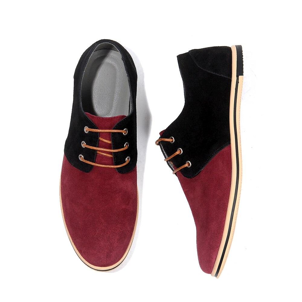 Printemps gris En 38 Hombre Daim 2018 Richelieus Cuir rouge Chaussures Taille Up 50 jaune Mâle Nouveau Dentelle Zapatillas Casual Appartements Noir Hommes Mode AnZAXR