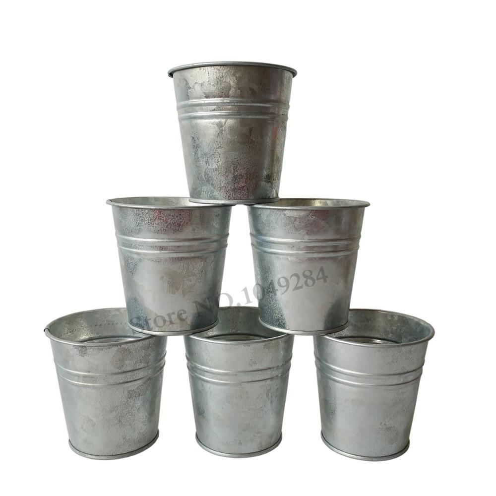D8 h8cm free shipping wholesale pure tin box flower pots for Garden pots