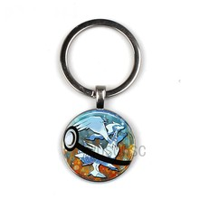 2019 hot sale crystal vault eevee pokeball key chain round pokemon pikachu personality pendant keychain photo(China)